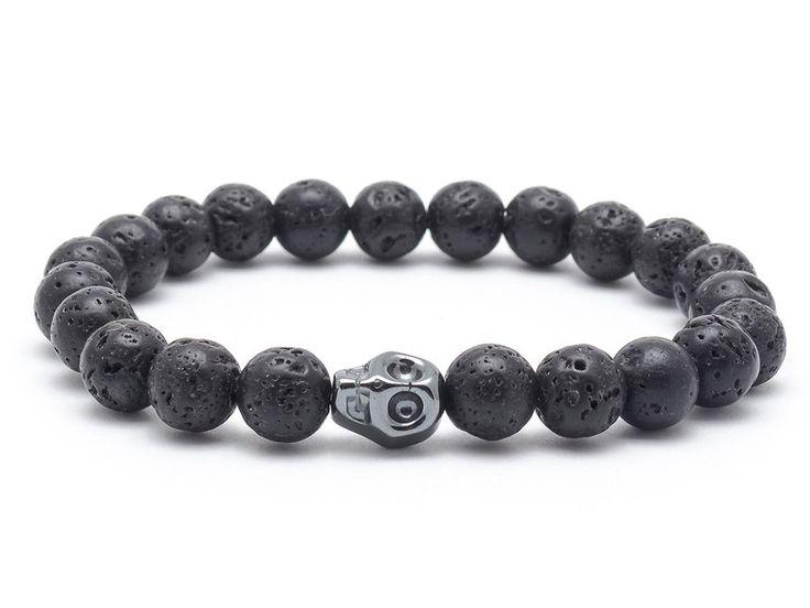 Mens Armbands – Men's bracelet stone lava hematite skull – a unique product by Blackif on DaWanda