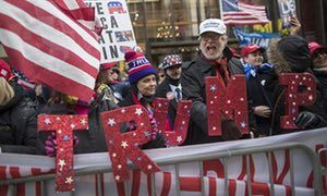 Supporters of President Donald Trump chant slogans during a Trump rally on Fifth Avenue near Trump Tower.