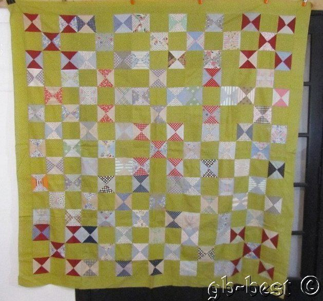 Country Cottage 1930s Bow Tie Vintage QUILT Top 77 x 77 Yellow Red Blue