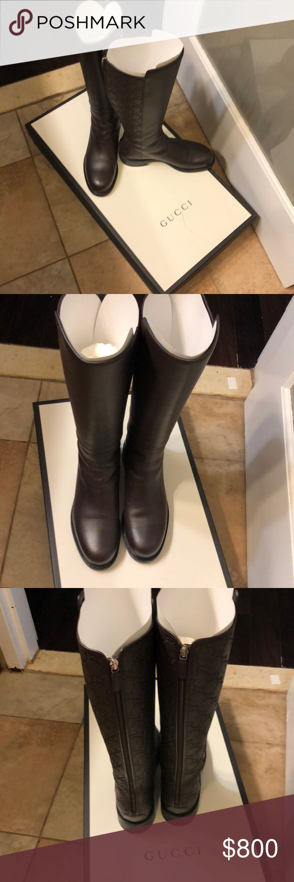 Gucci leather authentic signature rider boots Used once - Calf length - Great condition - No tears, marks or scuffs. Comes with box & dust bag Gucci Shoes Winter & Rain Boots