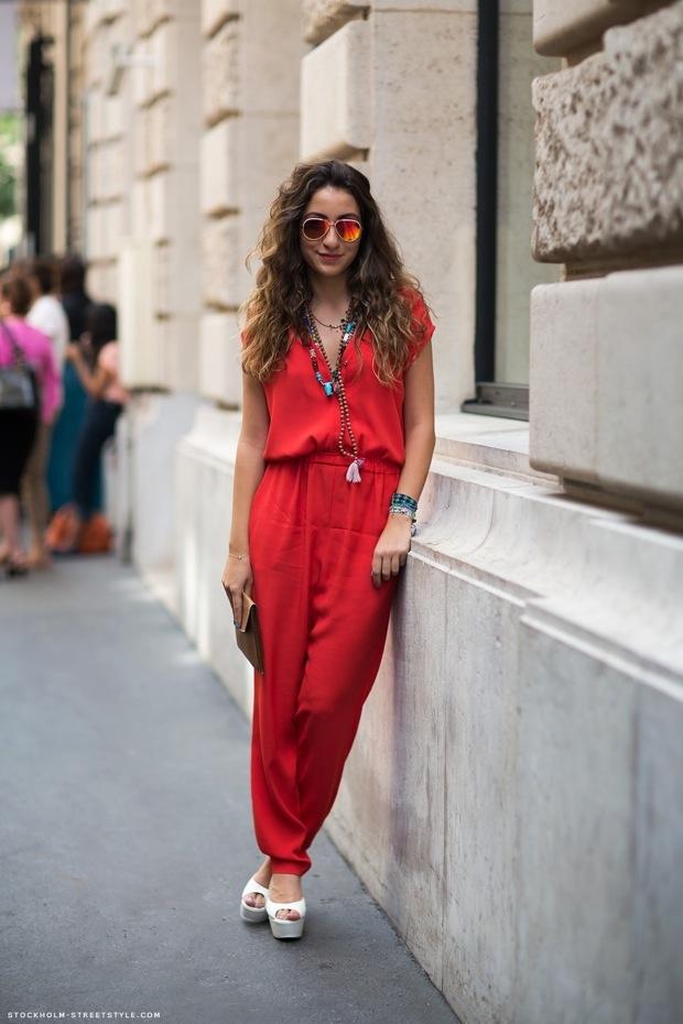 red jumpsuit, hippie / boho chic