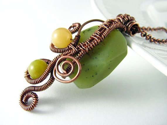 Wire Wrapped Jewelry Jade Necklace Copper Free Form Wire Wrapped Pendant Green Quartzite on Etsy, $38.00