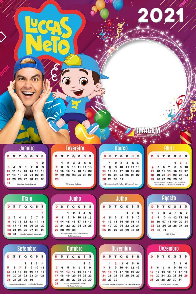 Calendário 2021 PNG Infantil para Foto Montagem Imagem