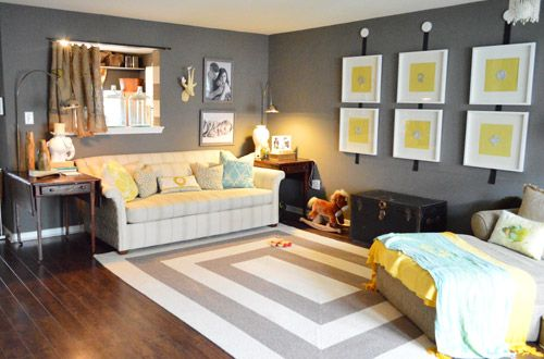 House Crashing: A Cozy  Creative Townhouse | Young House Love (Gauntlet Gray by Sherwin Williams)