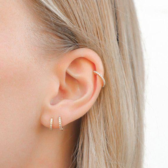 18K Gold Hoop Earrings – Small Hoop Earrings – Gold Hoops – Diamond Earrings – Minimalist Jewelry – Huggie Earrings – Gift for Her