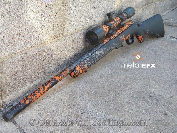 Bolt Action Rifle Cerakoted in Safety Orange, Tungsten and Graphite Black.