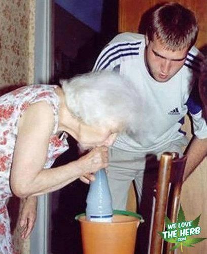Grandma On The Gravity Bong