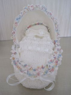 Hooded Crib. This Was The 1st One I Knitted, l Also Knitted a Wee Teddy to Sit In It