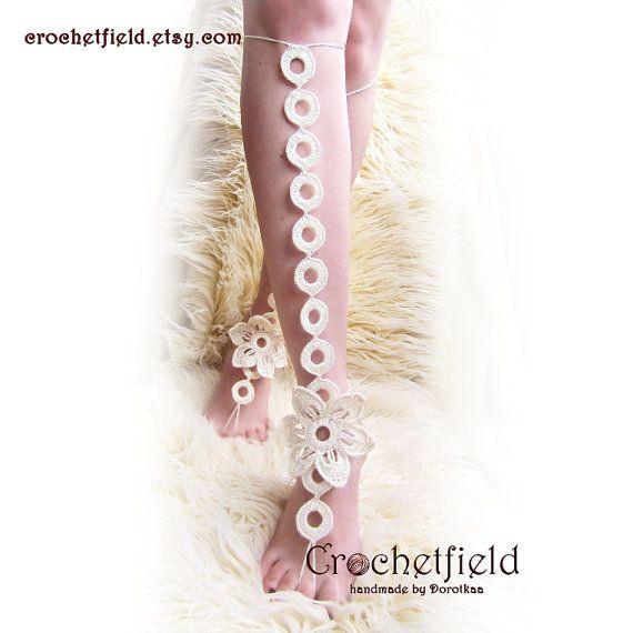 EXOTIC flower crochet RINGS barefoot sandals knee by Crochetfield
