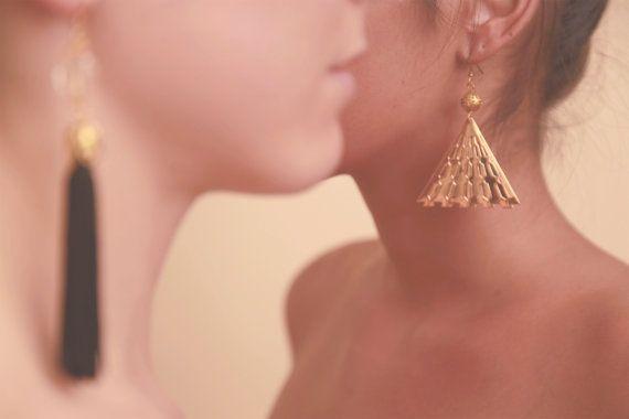 Egyptian pyramid shape gold colour earrings
