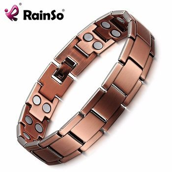 RainSo Vintage Copper Magnetic Bracelet for Men / Women 2 Row Magnet Healthy Healing Therapy Bio Energy Bangles Fashion Jewelry