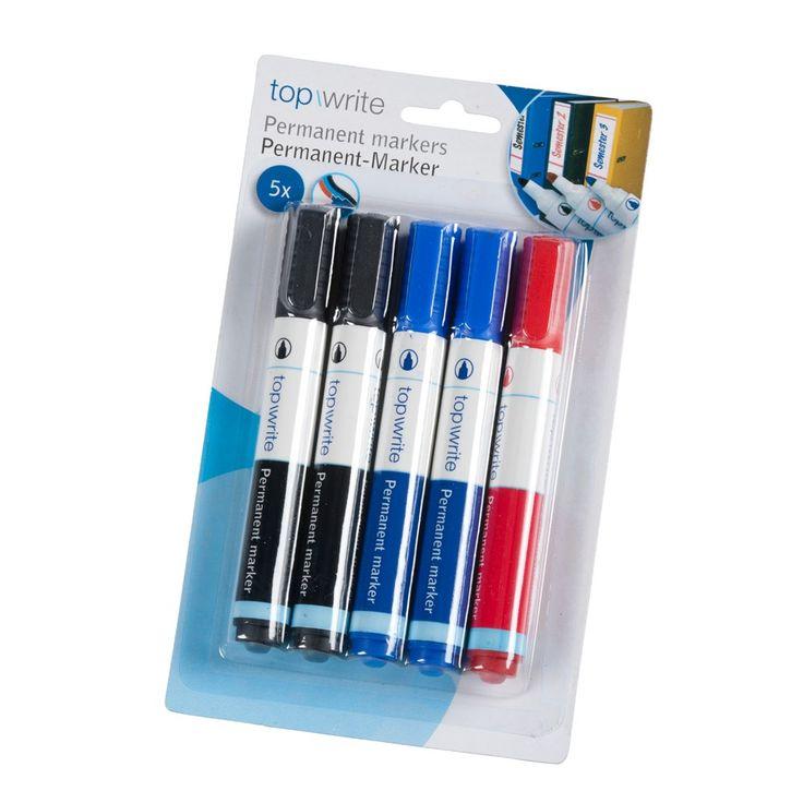 Vijf permanent markeerstiften in 3 kleuren. In de blister verpakking zitten 2 zwarte, 2 blauwe en 1 rode permanent marker. Afmeting: 1,5 x 1,5 x 13cm - Markeerstift Permanent 5st.