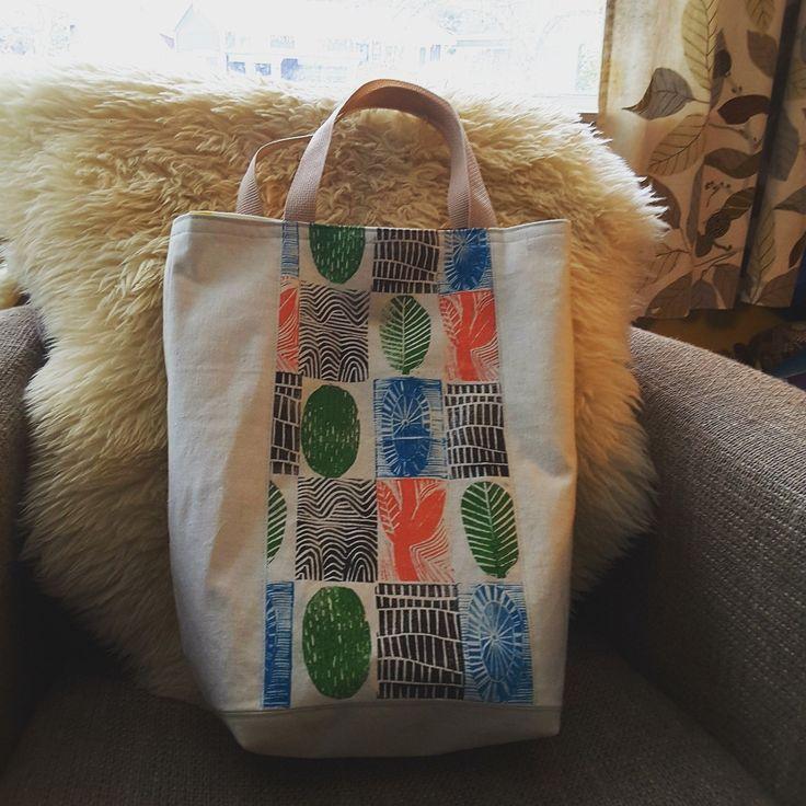 block-printed tote bag