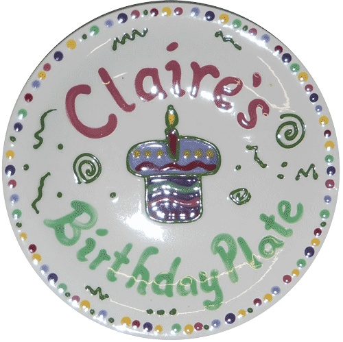 Personalized, hand-painted Birthday Plate - food safe & dishwasher safe.Birthday Plates, Hands Painting Birthday