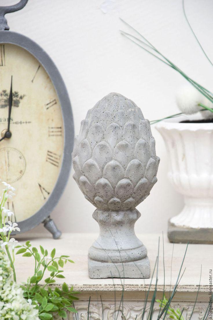 Купить Статуэтка Артишок из бетона серая в стиле Прованс, Шебби - серый, артишок