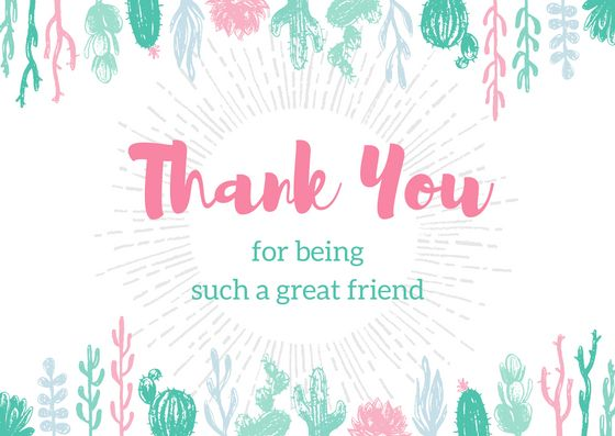 Easy DIY BFF Thank You card template with succulent garden border. Created by ArtnerDluxe in Canva. Customize your own version @ https://www.canva.com/artnerdluxe. Art elements © ArtnerDluxe www.artnerdluxe.com #canva #graphicdesign #thankyou #card #template