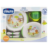 CHICCO Geschenkset Mahlzeit 12m+ #CHICCO #Geschenkset #Mahlzeit #3teilig #Trinklernflasche #Tellerset #Babybesteck #Kindergeschirr #Tiermotiv #Giraffe #Affe #Löwe