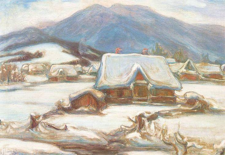 Chałupy w śniegu   Władysław Ślewiński