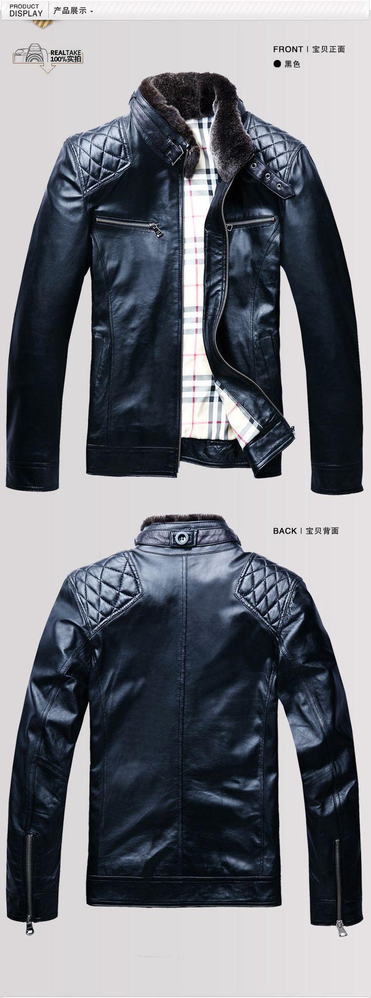 Men's genuine sheepskin leather & suede jacket rabbit fur collar zipper front fly black short atutumn spring motorcycle coat 4XL-inLeather &...