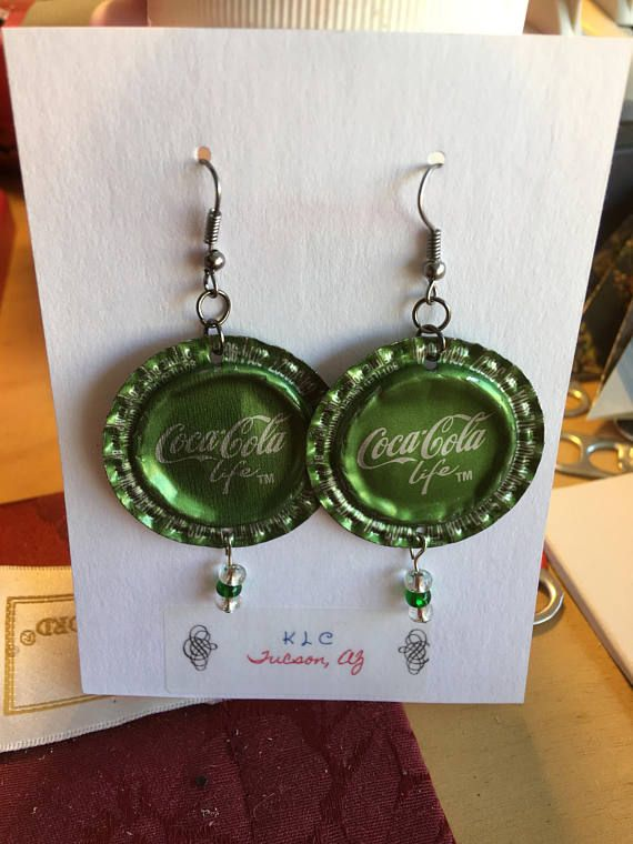 Coca Cola Life up-cycled bottle cap earrings