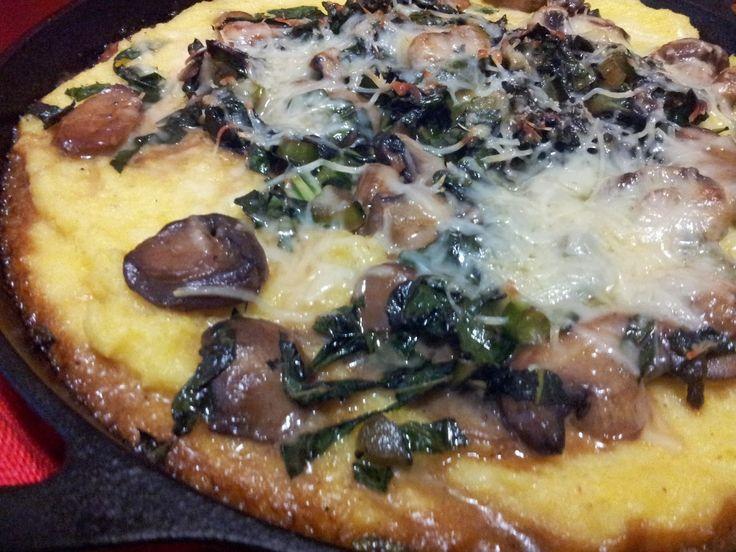 Recetas de la abuela: Polenta al horno con hojas de col y champiñones