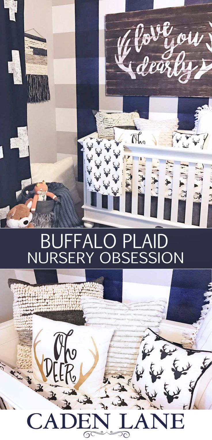 The latest trend in boy nursery design is Buffalo Plaid! Take a look at our eclectic woodland perspective on the trend in this amazing black, white and navy nursery.