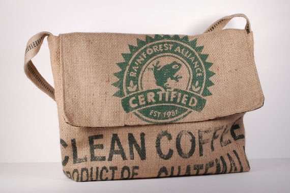 Recycled Burlap Coffee Bean Sack Messenger Bag by Amy Wallace