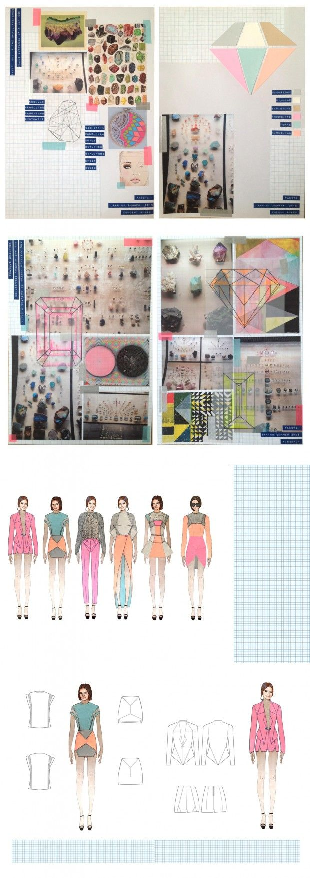 """Fashion Sketchbook - geometric fashion design concept development for the chalky pastel, gem-inspired """"Facets"""" collection; fashion portfolio // Nancy Robinson"""