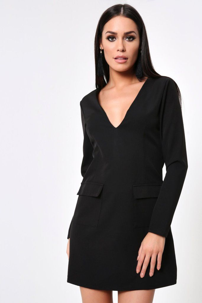 b1ad46a839 Black Plunge Shift Dress With Pockets