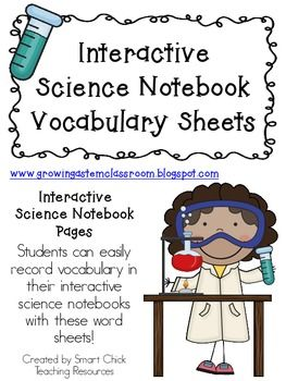 Vocabulary Sheets & Word Lists ~ Interactive Science Notebook
