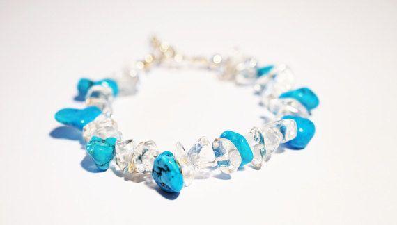Handmade  Bracelet Turquoise Glass Sterling Silver.