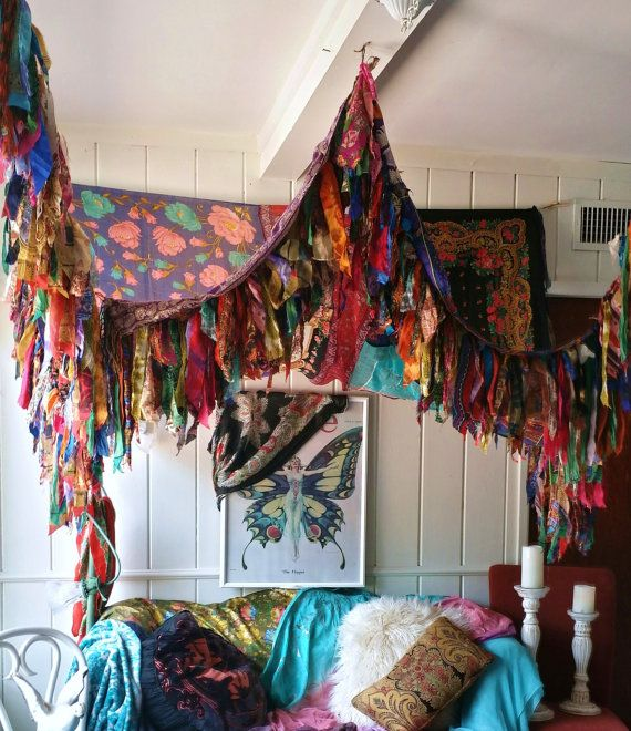 Boho Bedroom Patio Canopy Bohemian hippy vtg bed scarves Gypsy hippie patchwork meditation garden Wedding Decor photo prop backdrop Fringe