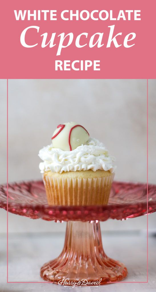 The prettiest white chocolate cupcakes make a darling dessert and the perfect excuse to have one more chocolate truffle.