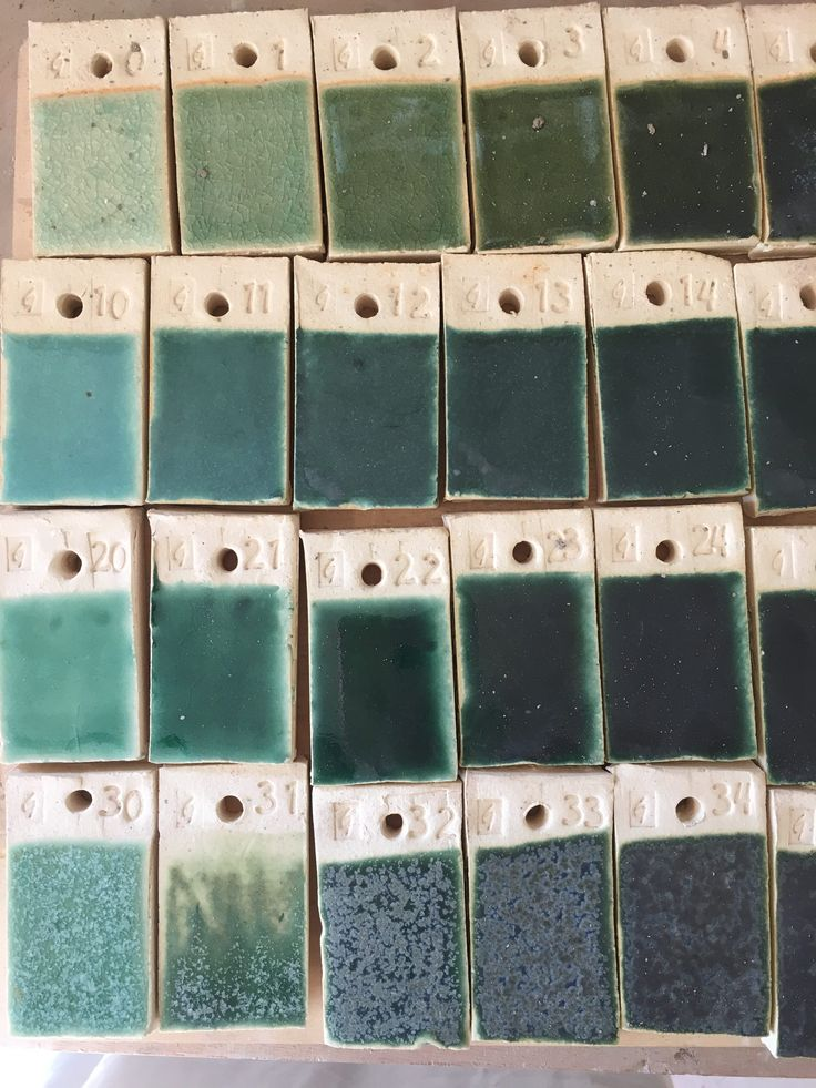 Testing coloured glazes to find the perfect shade for our new showroom tiles