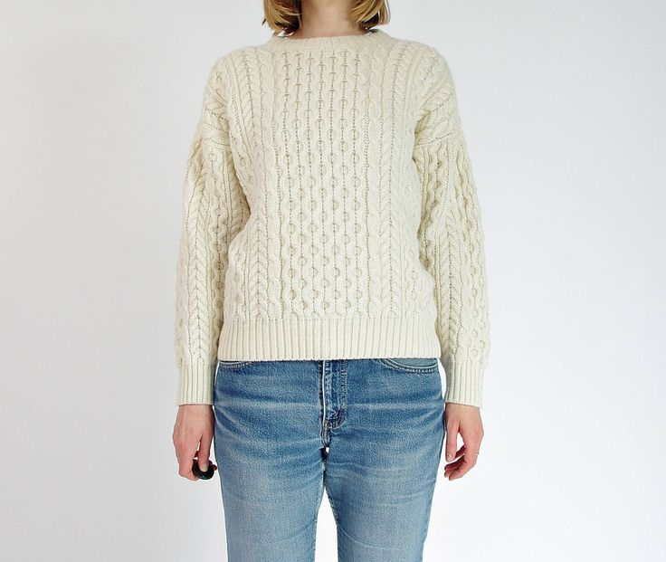 80s Highland Home Industries Off White Fisherman Cable Knit Pullover Sweater Made in Scotland / Size S-L by Only1Copy on Etsy