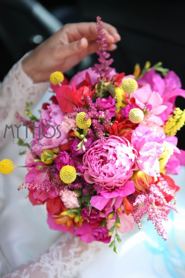 Boho style wild colorful flowers #weddingflowers #peonies #weddingingreece #kefaloniawedding