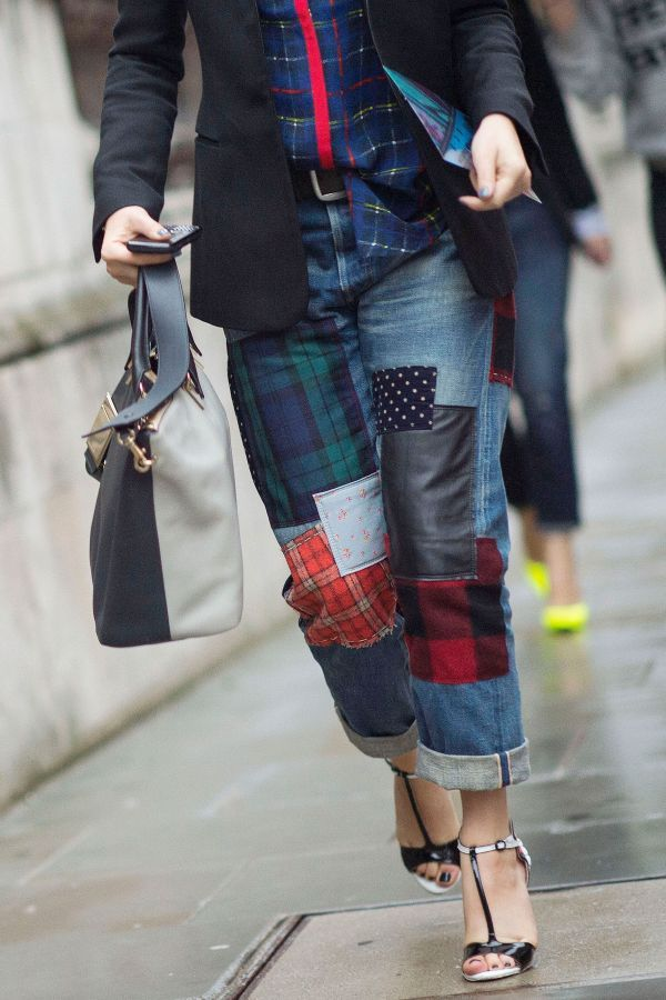 Trend To Try: Patchwork Patchwork squares strategically placed on baggy boyfriend jeans take contemporary shape this season, although we'll never forget the '90s trend that inspired the throwback movement. Unsure how to rock them in 2014? Team yours with a loose-fit tee and point-toe pumps for street style-savvy results