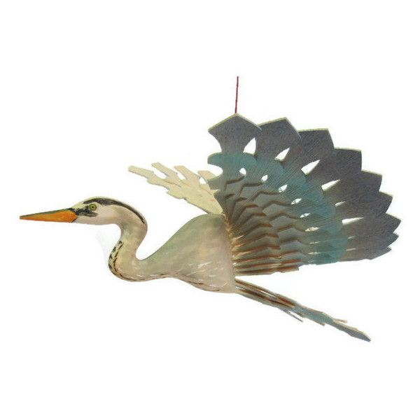 Great Blue Heron Bird Mobile Fan Carving Hand Carved By Myfanbirds