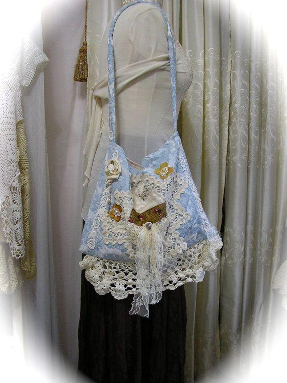 DAMASK FABRIC PURSE - handmade upcycled shabby lace embellished