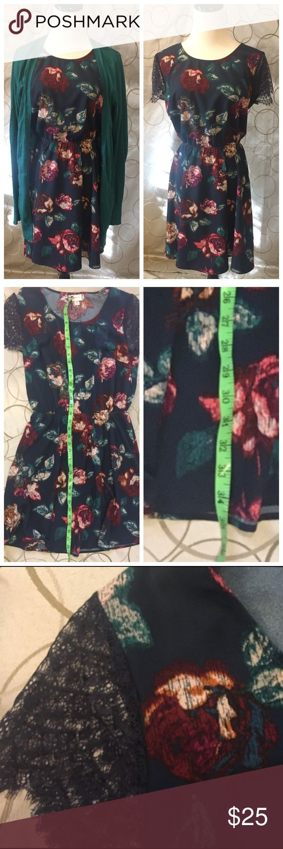 Navy floral dress and matching long green sweater. Navy floral dress and matching long green sweater. By Merona. Merona Dresses Mini