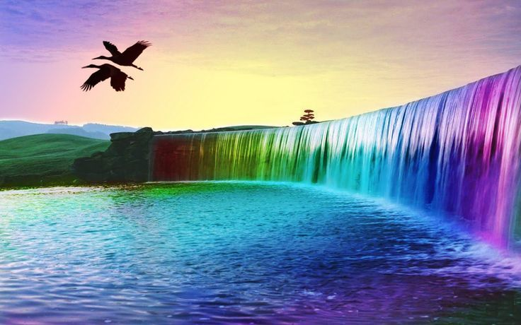 3d Waterfall Wallpapers Hd Wallpapers Group Wallpapers Designs Colorful Landscape Rainbow Waterfall Waterfall Wallpaper