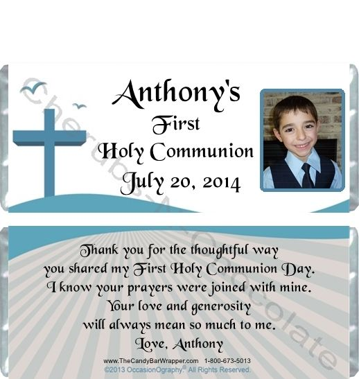 First Holy Communion Party Favors - Personalized Hershey Bars