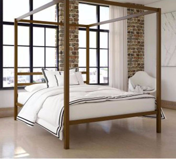 Metal Canopy Bed Frame Queen Size Modern Gold Finish Built-in Headboard & Best 25+ Metal canopy bed ideas on Pinterest | Canopy bedroom ...