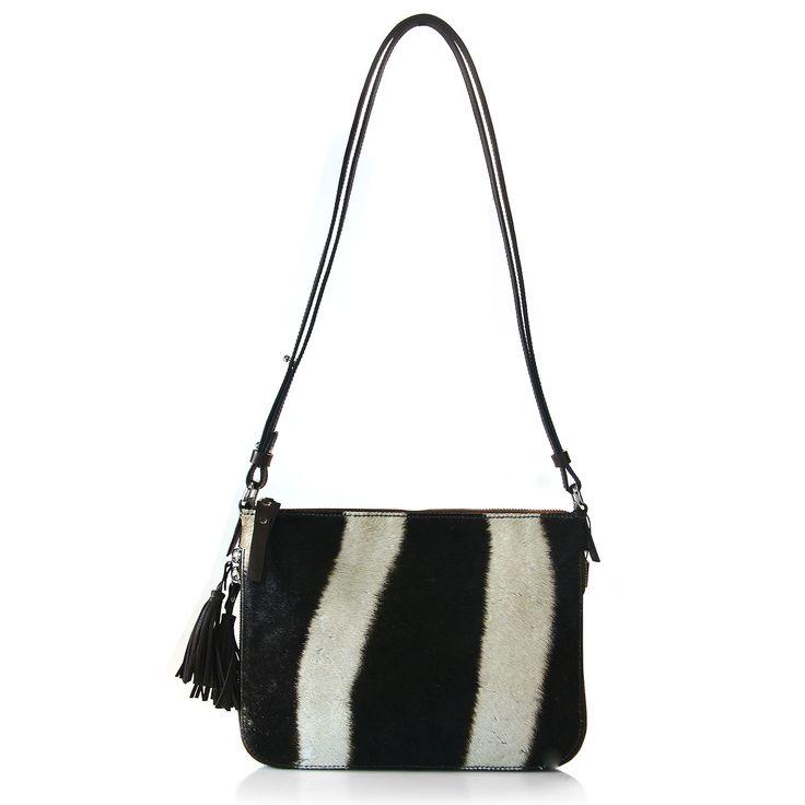 genuine Zebra and Nappa leather handbag, part of the Via Veneta UNTAMED collection