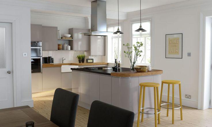Handleless Cashmere Gloss Kitchen image 1