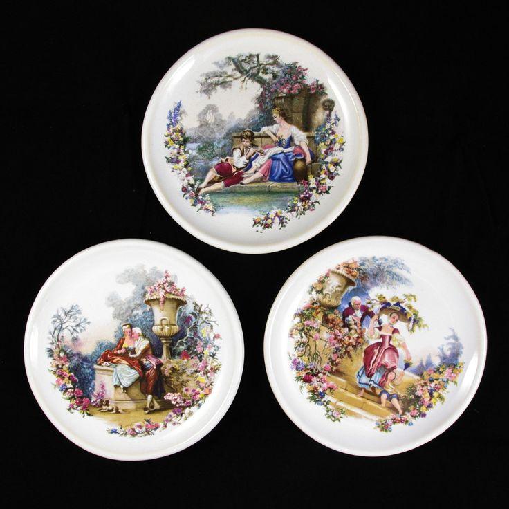 Set of 3 Vintage Victorian Style Ceramic Decorative Plates with Pastoral Scenes by ArtVintageCraftShop on Etsy