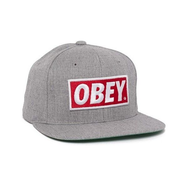Obey Original Snapback Cap (Heather Grey) Consortium ($40) ❤ liked on Polyvore featuring accessories, hats, cap, eleanor, casquette, caps hats, snap back hats, snap back caps, obey clothing and snapback cap