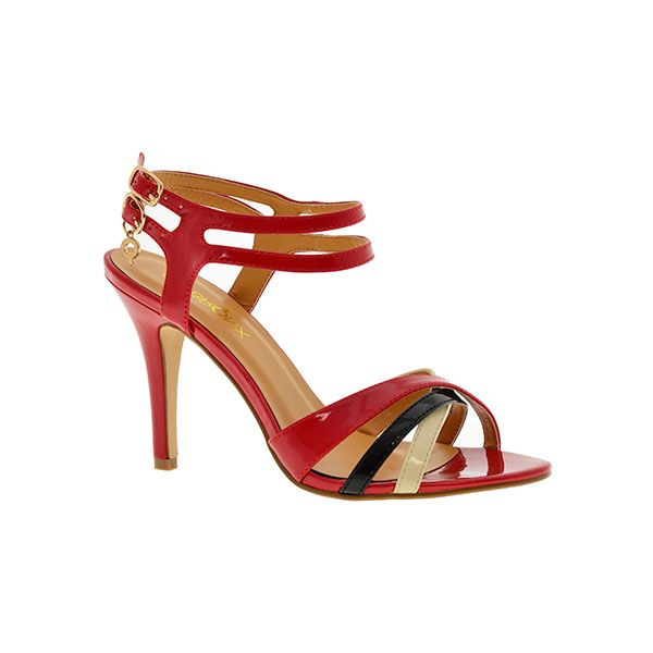 """Noa"" Ladies Red Heeled Strappy Sandal by Bronx Woman."