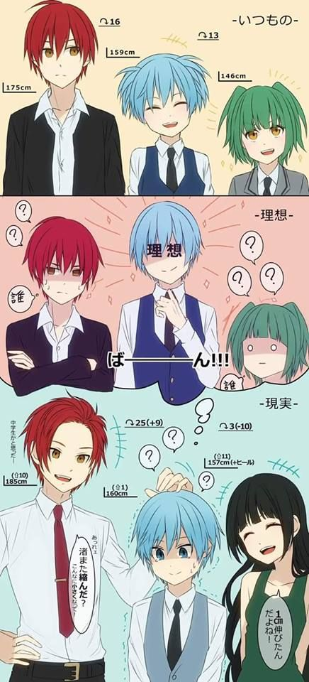 Poor Nagisa... We're both short, it's okay. Short people are cute. Oh wait, you want to look more manly... XD - DA | Assassination Classroom
