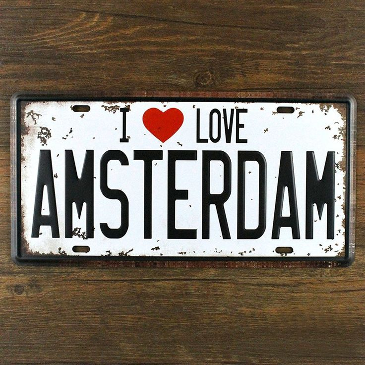 """Vintage License Plate """"I LOVE AMSTERDAM"""" Netherlands metal carfts tin sign retro painting wall art home decor cafe bar poster $10.99"""